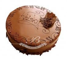 TORT WHISKY - dwa krążki z ciasta biszkoptowego w połączeniu z masą czekoladową z dodatkiem prawdziwego Johny Walkera.